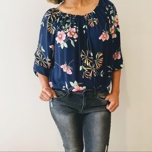 GAP Navy Pink Floral Off Shoulder Blouse